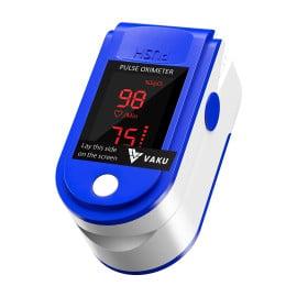 DR VAKU ® Pulse Oximeter Fingertip, Multipurpose Digital Monitoring Pulse Meter Rate & SpO2 with LED Digital Display [Battery included] - Blue