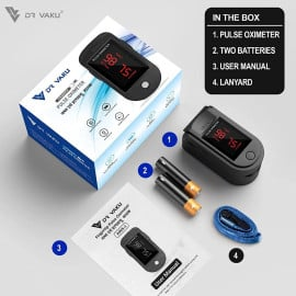 DR VAKU ® Pulse Oximeter Fingertip, Multipurpose Digital Monitoring Pulse Meter Rate & SpO2 with LED Digital Display [Battery included] - Black