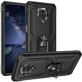 Vaku ® Xiaomi Redmi Note 9 Pro Armor Ring Shock Proof Cover with Inbuilt Kickstand
