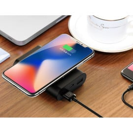 USAMS ® Wire-less Charging PowerBank ABS Body With Digital Display High Power 8,000 mAh Dual-USB Output Power Bank