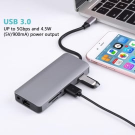 VAKU ® 9-in-1 USB Type-C Hub Adapter with HDMI, Thunderbolt 3, 2 x USB 3.0, USB-C , SD and MicroSD Card Reader for Macbook Air & Macbook Pro