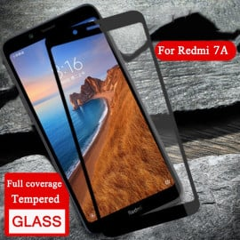 Dr. Vaku ® Xiaomi Redmi 7A 5D Curved Edge Ultra-Strong Ultra-Clear Full Screen Tempered Glass-Black