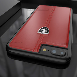 Ferrari ® Apple iPhone 7 Plus Vertical Contrasted Stripe - Material Heritage leather Hard Case back cover