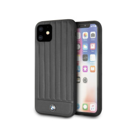 BMW ® Apple iPhone 11 Real Leather Textured Case with Hot Stamped Lines Back Cover - Black