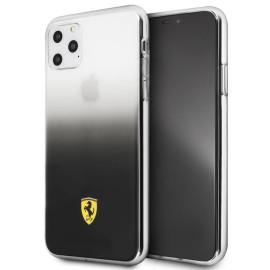 Ferrari ® Apple iPhone 11 Pro Max Transparent Black  Gradient Ferrari Logo Back cover