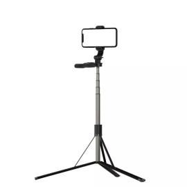 eller santé ® L05 Aluminum Extendable Selfie Stick Tripod with Monopod Stabilizer Bluetooth Remote Compatible with iPhone 12/12Pro/ Max/11 Pro/11 -Black