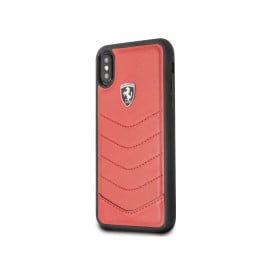 Ferrari ® Apple iPhone XS Max Scuderia Luxurious Leather  Stitched Limited Edition Back Cover