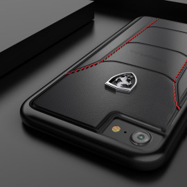 Ferrari ® Apple iPhone 8 Official 488 GTB Logo Double Stitched Dual-Material Pure Leather Back Cover