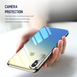Rock ® Apple iPhone XS Max Classy UV Series Dual-color shine with Anodized Aluminum Camera Finish Transparent Back Cover