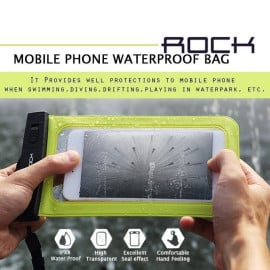 "Rock ® Universal upto 5.5"" Waterproof Lock Sealed Soft Silicon TPU Bag Pouch Case"