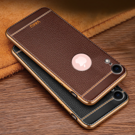 Vaku ® Apple iPhone XR Leather Stitched Gold Electroplated Soft TPU Back Cover