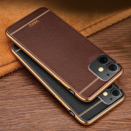 Vaku ® Apple iPhone 11 Leather Stitched Gold Electroplated Soft TPU Back Cover