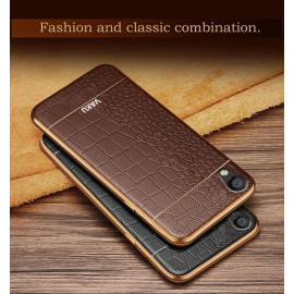VAKU ® OPPO A37 European Leather Stitched Gold Electroplated Soft TPU Back Cover