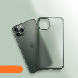 Luxos ® For Apple iPhone 11 Pro Max Translucent Armor Case + Vibrant Color buttons Back Cover