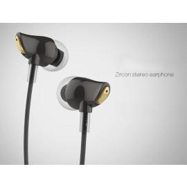 Rock ® Nano Zircon Stone Crystal 3.5mm Stereo Earphone + Mic + Control with Gold Plated Jack Earphone