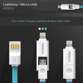 Rock ® Innovative Inbuilt 2 in 1 Lightning Port + Micro USB Combo Charging / Data Cable