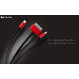 Joyroom ® 3-in-1 Multiple Connector Apple/Android/4th Gen iPhone Flat-thin Copper 138cm Charging / Data Cable