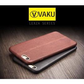 Vaku ® VIVO Y66 Lexza Series Double Stitch Leather Shell with Metallic Logo Display Back Cover
