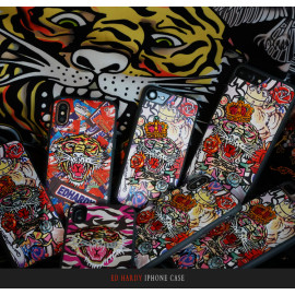 Ed Hardy ® Apple iPhone X / XS Embroidery Pattern Pictorial Design Fabric Shock-proof Back Cover