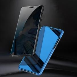Vaku ® Oppo A8 Mate Smart Awakening Mirror Folio Metal Electroplated PC Flip Cover
