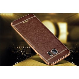 VAKU ® Samsung Galaxy S6 Edge Plus Leather Stiched Gold Electroplated Soft TPU Back Cover