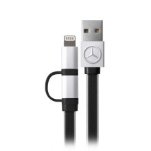 Mercedes Benz ® 2 in 1 Black Charging Cable MFI Certified Lightning and USB cable