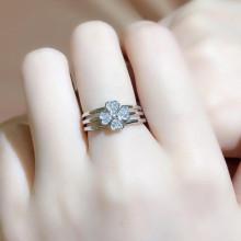 VAKU ® Sterling Silver Princess Zirconia Diamond Cut Women Ring with Apple Gift Box