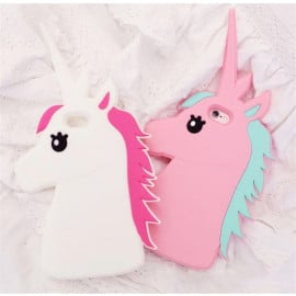Cute Cases ™ Apple iPhone SE 2020 Cute Unicorn Horse Design Ultra-Soft Gel Silicon Case Back Cover - White + Pink