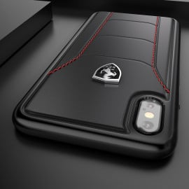 Ferrari ® Apple iPhone X Official 488 GTB Logo Double Stitched Dual-Material Pure Leather Back Cover