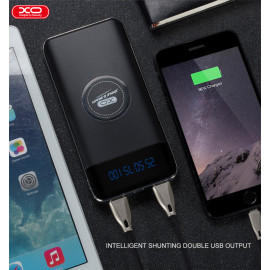 XO ® Wire-less Charging PowerBank ABS Body With Digital Display High Power 10,000 mAh Dual-USB Output Power Bank-Jet Black