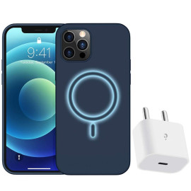 eller santé  ® iPhone 12 Pro Max Magsafe  Halo Lock Magnetic Wireless Charging Silicon Velvet-Touch Finish Shock-Proof Back Cover With Free 20W Type C Charger
