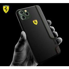 Ferrari ® Apple iPhone 11 Pro Max ON TRACK Racing Shield Rubber Soft Carbon Fiber Back Cover