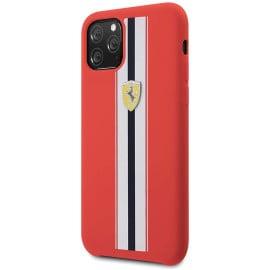 Ferrari ® Apple iPhone 11 Pro White Stripe Liquid Silicon Velvet-Touch Silk Finish Shock-Proof Back Cover