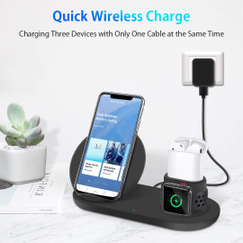Vaku ® 3 in 1 Wireless 10W Fast-Charging QI Wireless Charging Dock Station for Apple iPhone, Apple Watch & Airpods With QC 3.0 Fast Charging Plug (FREE)