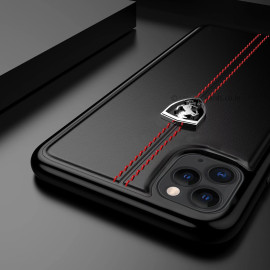 Ferrari ® Apple iPhone 11 Pro Vertical Contrasted Stripe - Material Heritage leather Hard Case Back Cover