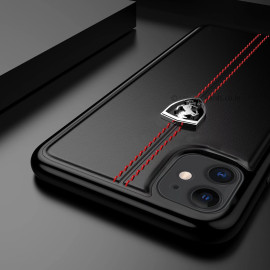 Ferrari ® Apple iPhone 11 Vertical Contrasted Stripe - Material Heritage leather Hard Case Back Cover