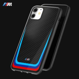 BMW Motorsports ® Apple iPhone 11 M8 Competition Tri- Colour Carbon Fiber Hard Case TPU Back Cover