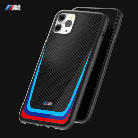 BMW Motorsports ® Apple iPhone 11 Pro M8 Competition Tri- Colour Carbon Fiber Hard Case TPU Back Cover