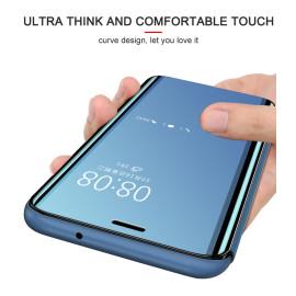 Vaku ® Oppo A7 Mate Smart Awakening Mirror Folio Metal Electroplated PC Flip Cover