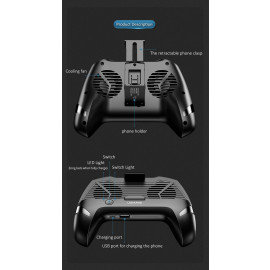USAMS ® Dual Cooling Fan Phone Gamepad with 1200 mAh inbuilt Charger