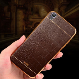 VAKU ® VIVO Y51L European Leather Stitched Gold Electroplated Soft TPU Back Cover