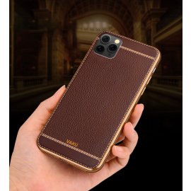 Vaku ® Apple iPhone 11 Pro Max Leather Stitched Gold Electroplated Soft TPU Back Cover