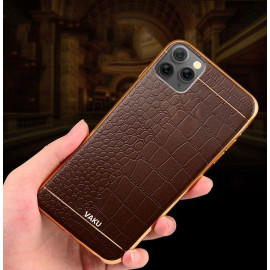 VAKU ® Apple iPhone 11 Pro Max European Leather Stitched Gold Electroplated Soft TPU Back Cover