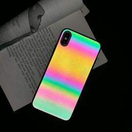 Vaku ® Apple iPhone X / XS Rainbow Gradient Case with Glittery Glow in Sunlight & Flashlight