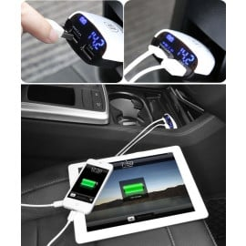 Baseus ® 3.4A Dual-USB Intelligent LED Display Real Time Voltage Monitoring Smart Car Charger