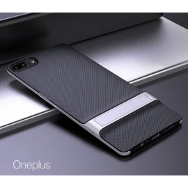 Vaku ® OnePlus 5 Royle Case Ultra-thin Dual Metal + inbuilt Stand Soft / Silicon Case
