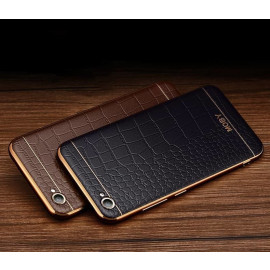 VAKU ® OnePlus 5 European Leather Stiched Gold Electroplated Soft TPU Back Cover