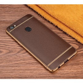 Vaku ® Oppo F5 Youth Leather Stitched Gold Electroplated Soft TPU Back Cover