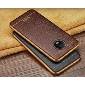 VAKU ®  Motorola Moto G5 Plus European Leather Stitched Gold Electroplated Soft TPU Back Cover