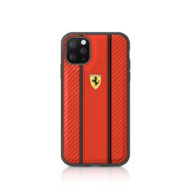 Ferrari ® Apple iPhone 11 Pro Max Carbon Vertical Stripe with Leather + Carbon Fibre Material
